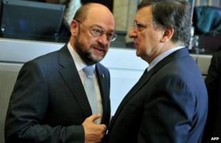 European Parliament speaker Martin Schulz (left) talks to European Commission President Jose Manuel Barroso in Brussels, 27 June