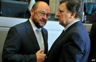 European Parliament speaker Martin Schulz (left) talks to European Commission President Jose Manuel Barroso in Brussels, 27 June