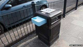Bin art in Portwall Lane