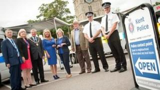 Ann Barnes at the launch of the mobile police stations