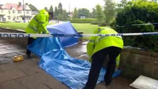 The scene of the stabbing outside a college in Birmingham