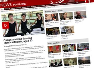 sample video page from BBC Online