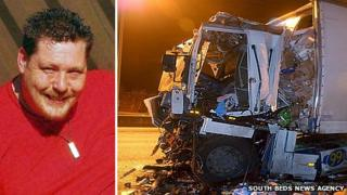 Lorry driver Stephen Kenyon and the lorry after the crash