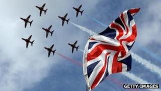Red Arrows fly over