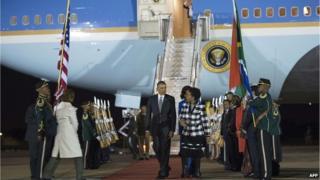 Barack Obama lands in South Africa