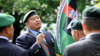 Gurkha veterans prepare for a parade from Nottingham Castle during Armed Forces Day celebrations in Nottingham city centre.