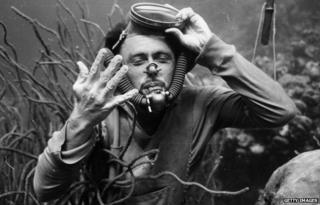 Hans Hass filming Under the Caribbean in 1944
