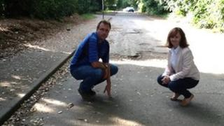 Campaigner Mark Francis and school parent Susan Szepietowski in Fortyfoot Road