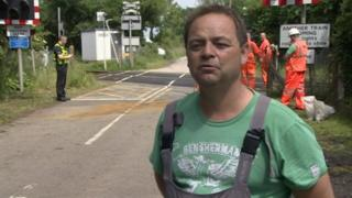 Paul Sheridan at Fordley Road level crossing, Kelsale