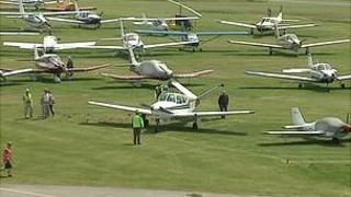 Alderney Fly-in: planes parked at the airport