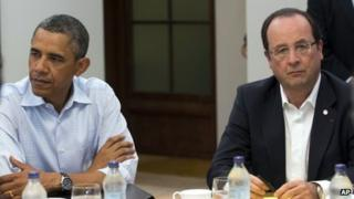 US President Barack Obama, left, and French President Francois Hollande at the G8 Summit June 18, 2013