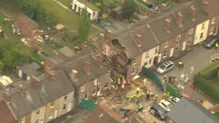 An aerial view of what remains of the house in Wright Street, Newark