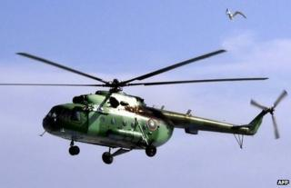 A Mi-8 helicopter like the one which crashed in Siberia (archive image)