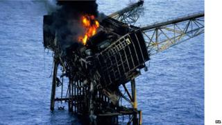 Rig collapsing into water