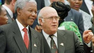Nelson Mandela (left) and FW de Klerk (right) pictured in 1996 when respectively president and deputy president of South Africa
