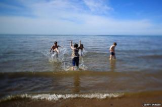 Children splashing in the sea