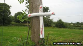 The crosses have appeared near Heather Humphreys' family home,