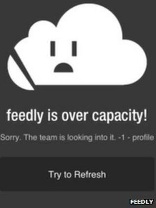 Screengrab from Feedly error message