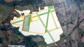 Aerial view of the development of the former Maze prison site