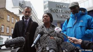Solicitor Imran Khan, Doreen Lawrence and Stuart Lawrence