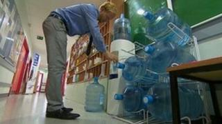 Water bottles at West Exe secondary school