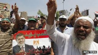 Supporters of ousted President Mohammed Morsi protest in Cairo