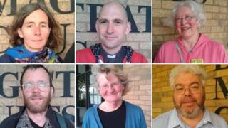 Henrietta Cullinan, Keith Hebden, Susan Clarkson, Christopher Cole, Penelope Walker and Martin Newall (clockwise from top left)