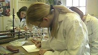 Girls in laboratory