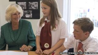 The Duchess of Cornwall meets Craigfelen junior school pupils