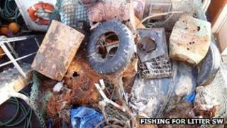 Rubbish collected in fishing nets