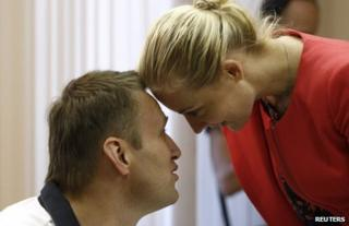 Alexei Navalny in court with his wife Yulia in Kirov, Russia, 2 July