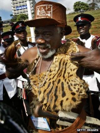 A Ugandan traditional healer in Kenya