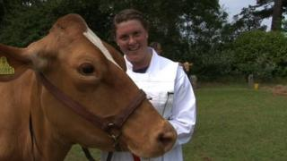 Ollie Abblidd with Guernsey cow