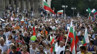 Bulgaria anti-government rally in Sofia, 4 Jul 13