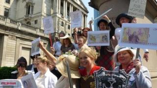 protestors at the Bank of England
