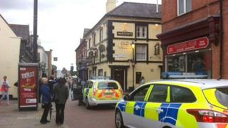 Police cars outside Old Vaults pub, Wrexham
