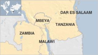 Map showing Tanzania's Mbeya region and surrounding countries