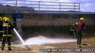 Fire crew cleans Shoalstone Pool. Pic; Devon and Somerset Fire Service