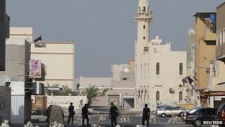 Riot police in Sitra, Bahrain (15 June)