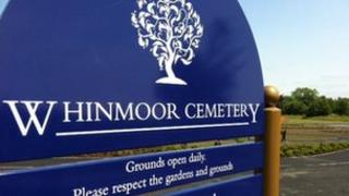 Whinmoor cemetery sign
