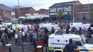 Footage of parade and protest in north Belfast last July
