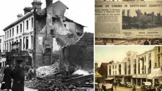 Composite of London Road before and after bombing, plus newspaper headline of the time