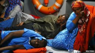 Migrants picked up in the Mediterranean and taken to Malta