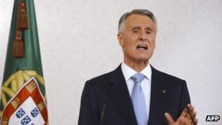 Portuguese President Anibal Cavaco Silva delivering a televised address on 10 June 2013