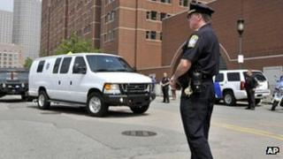 A van believed to be carrying Dzokhar Tsarnaev arrived at the Boston court on Wednesday (10 July 2013)