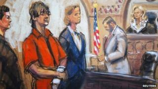 A court sketch of Dzhokhar Tsarnaev (10 July 2013)