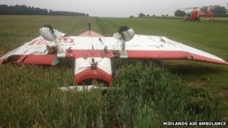Aircraft in field - Midlands Air Ambulance