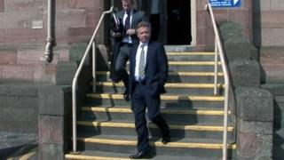 Craig Whyte, front, at Inverness Sheriff Court