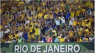 Brazil fans in Rio's Maracana stadium
