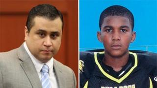 George Zimmerman at trial (left) and family photo of Trayvon Martin (right)
